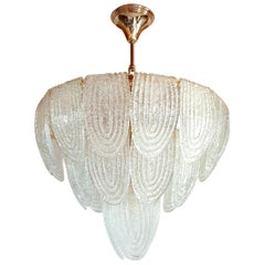 Mid-Century Modern Murano Glass and Plated Gold Plated Chandelier Mazzega, 1970s