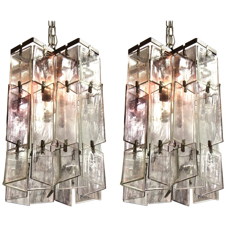 Murano glass-block pendants attributed to Angelo Vittorio Mazzega, 1970s, offered by Showplace Antique + Design Center