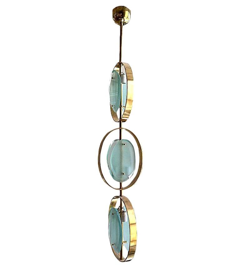 Mid-Century Modern Murano Glass & Brass Pendant Chandelier, Fontana Arte Style 2