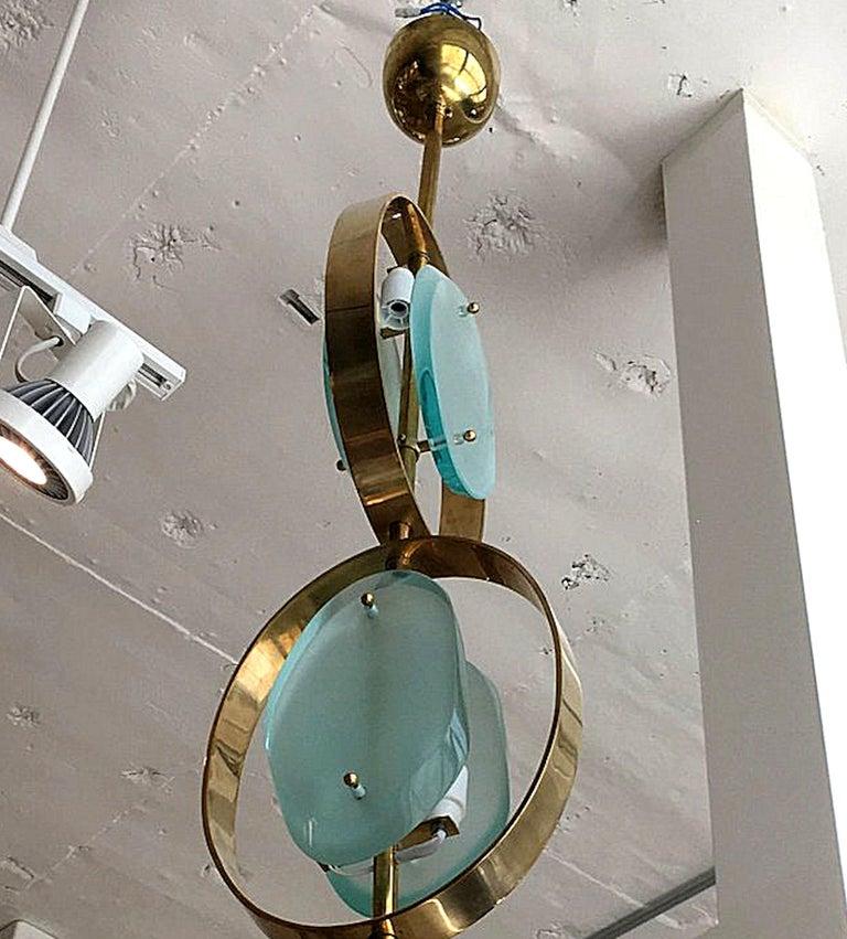 Mid-Century Modern Murano Glass & Brass Pendant Chandelier, Fontana Arte Style 5