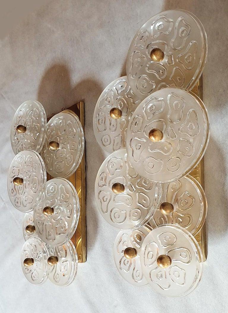 Italian Mid-Century Modern Murano Clear Glass Discs & Brass Four Sconces, Vistosi 1960s For Sale