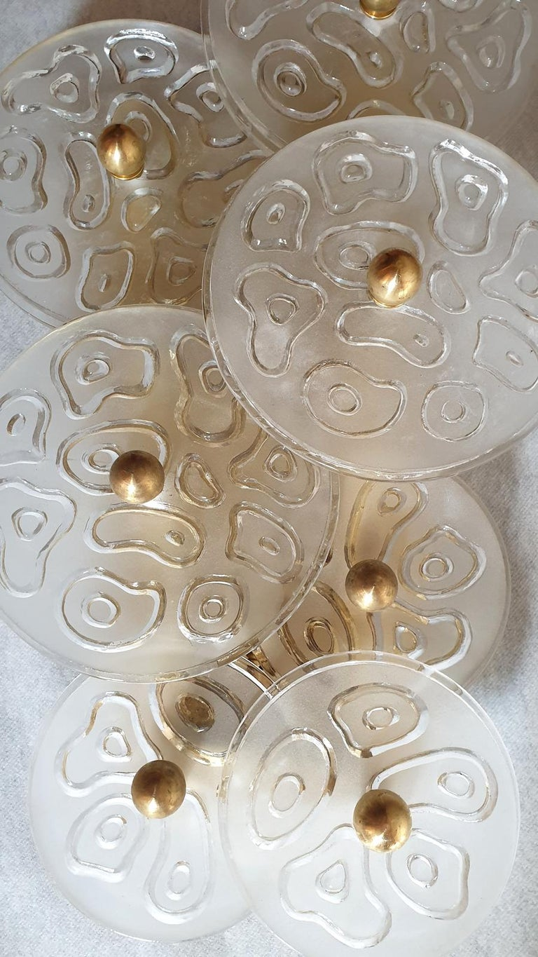 Mid-20th Century Mid-Century Modern Murano Clear Glass Discs & Brass Four Sconces, Vistosi 1960s For Sale