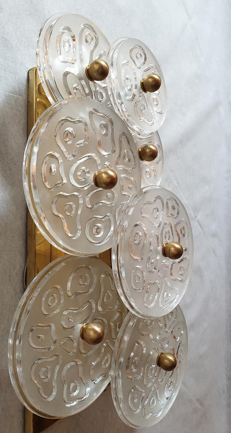 Mid-Century Modern Murano Clear Glass Discs & Brass Four Sconces, Vistosi 1960s For Sale 1