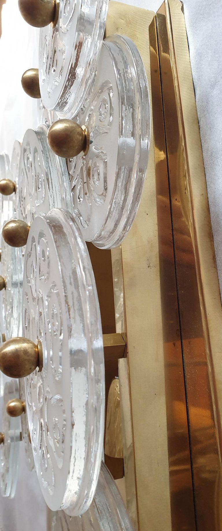 Mid-Century Modern Murano Clear Glass Discs & Brass Four Sconces, Vistosi 1960s For Sale 2
