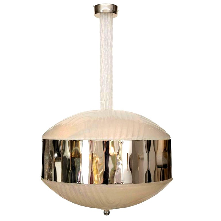 Mid-Century Modern Murano Glass Chandelier with Chrome, Attr to Mazzega, 1970s For Sale