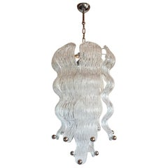 Mid-Century Modern Murano Glass & Chrome Wavy Chandelier Mazzega Style