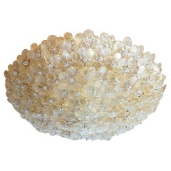Mid-Century Modern Murano Glass Gold Flowers Flush-Mount Light, Barovier, 1970s