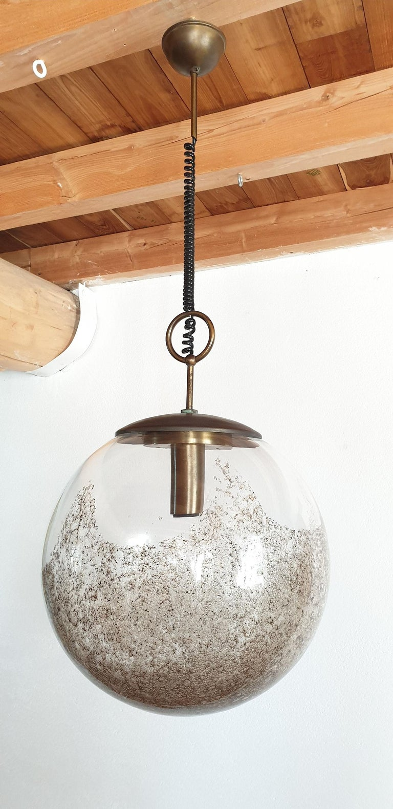 Large Murano glass ball pendant light, by Carlo Nason for Mazzega, Murano, Italy, 1960s. 
