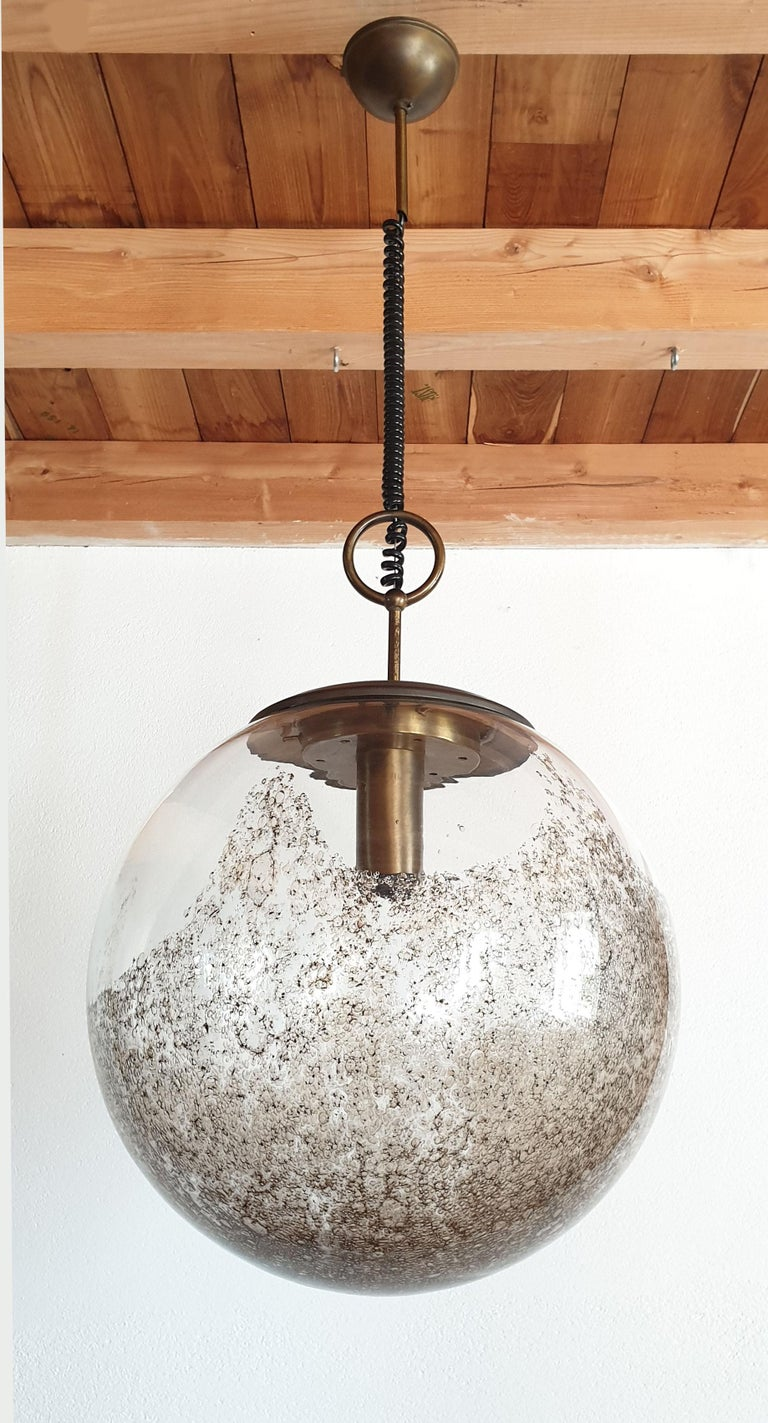 Italian Large Mid-Century Modern Murano Glass Ball Chandelier, Carlo Nason, Mazzega 1960 For Sale