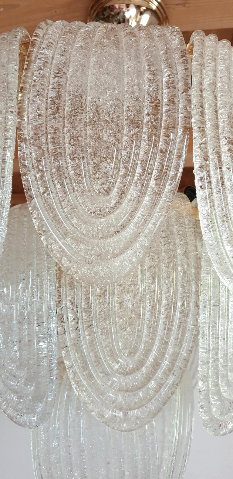 Mid-Century Modern Murano Glass and Plated Gold Chandelier Mazzega Style, a pair For Sale 4