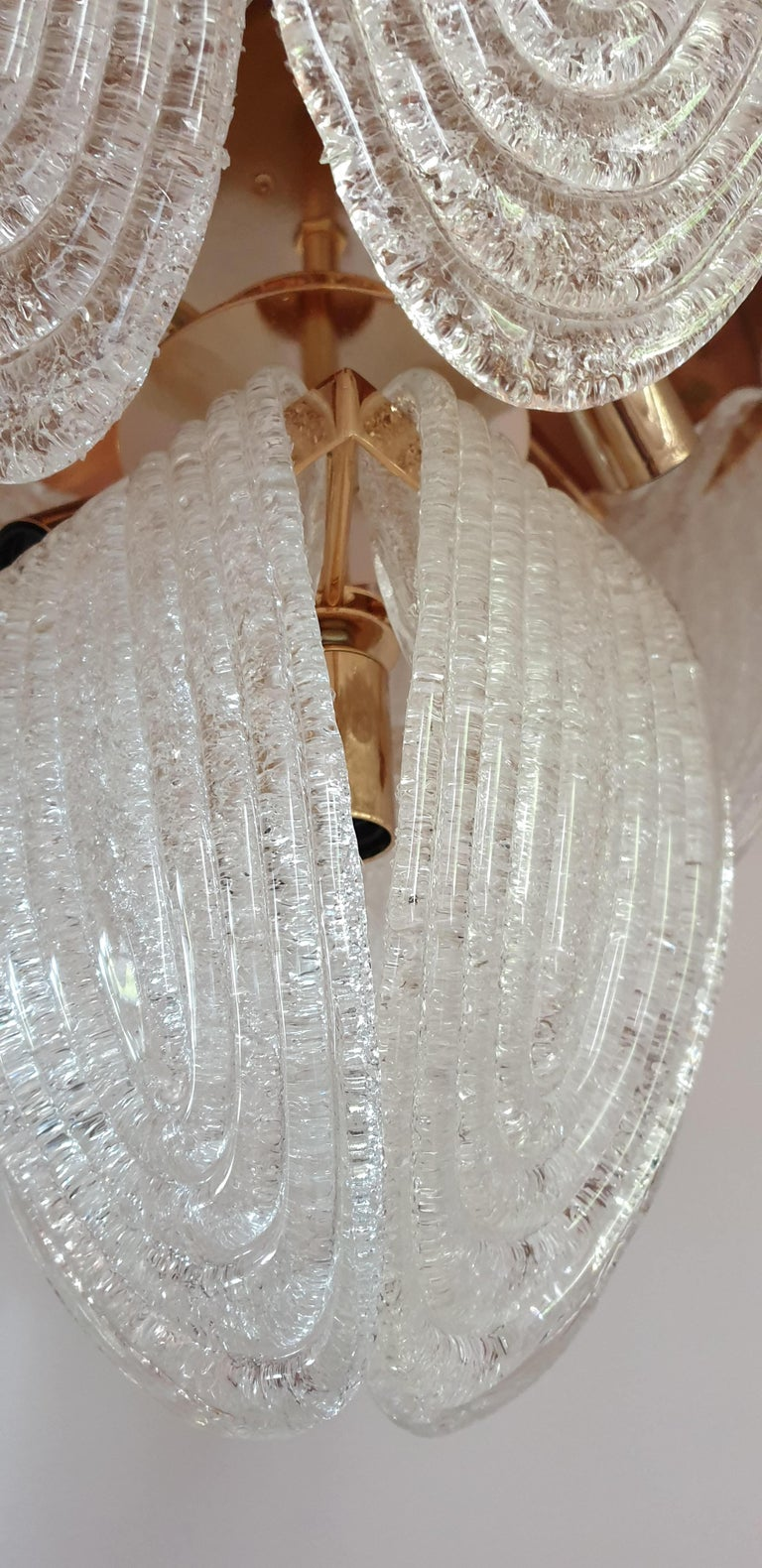 Mid-Century Modern Murano Glass and Plated Gold Chandelier Mazzega Style, a pair For Sale 5