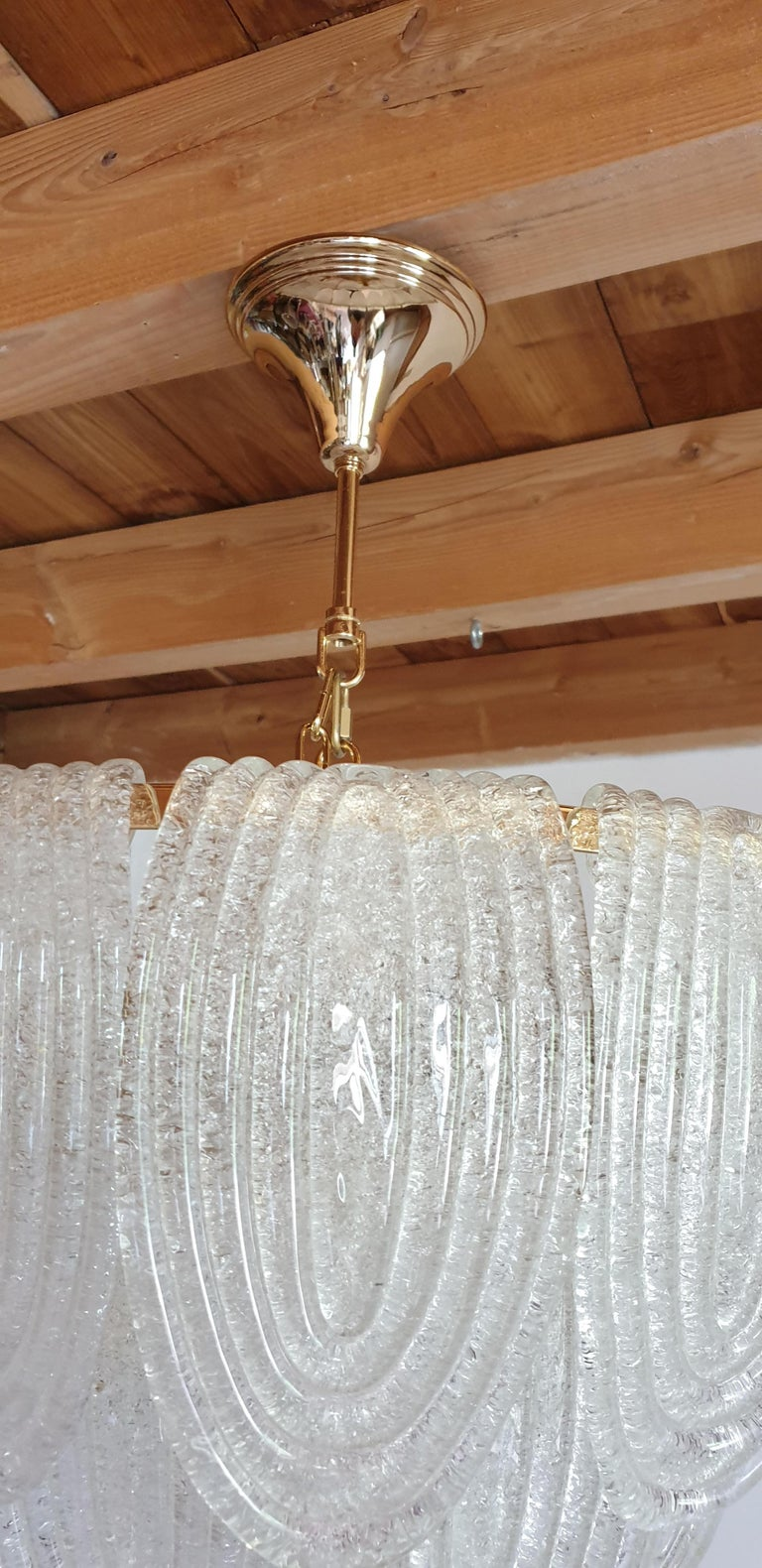 Mid-Century Modern Murano Glass and Plated Gold Chandelier Mazzega Style, a pair For Sale 6
