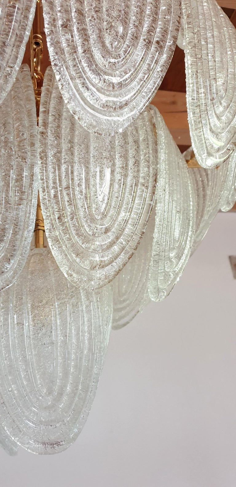 Mid-Century Modern Murano Glass and Plated Gold Chandelier Mazzega Style, a pair For Sale 7