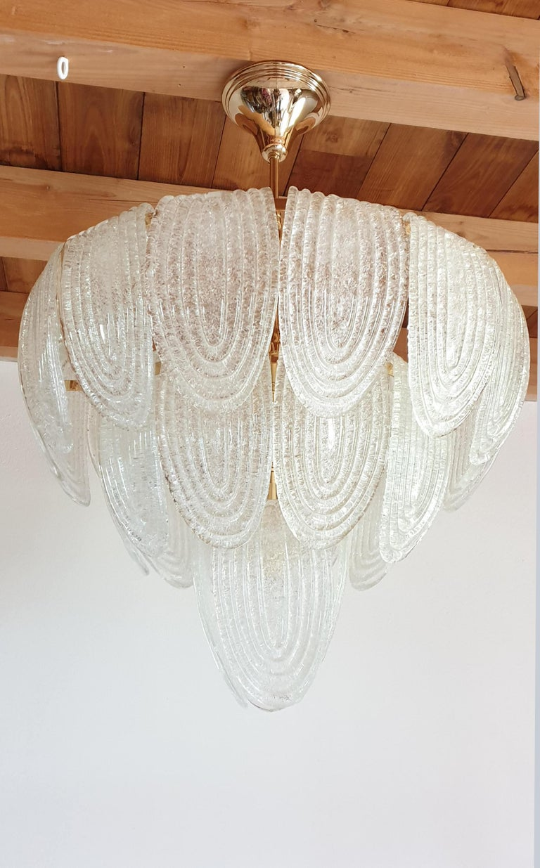 Italian Mid-Century Modern Murano Glass and Plated Gold Chandelier Mazzega Style, a pair For Sale