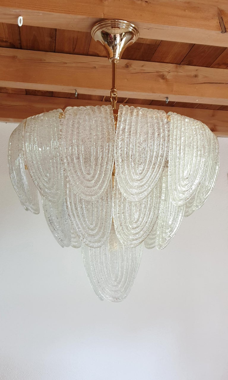 Hand-Crafted Mid-Century Modern Murano Glass and Plated Gold Chandelier Mazzega Style, a pair For Sale