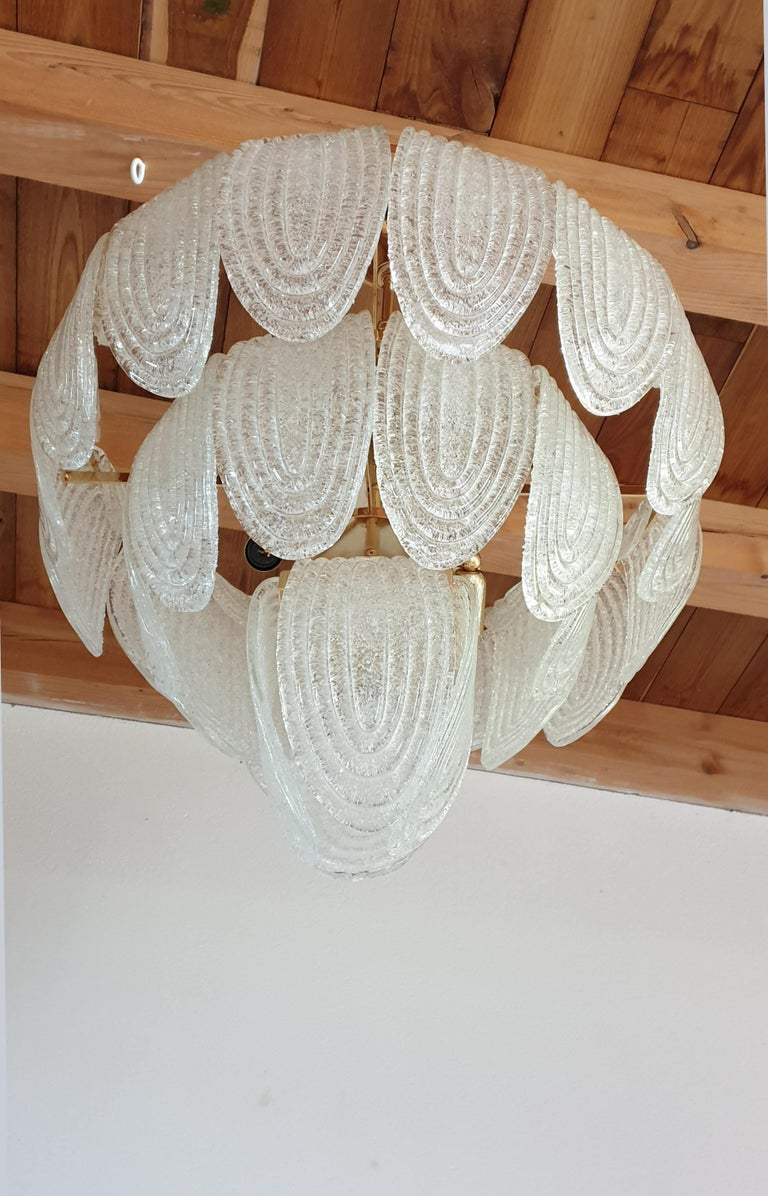 Mid-Century Modern Murano Glass and Plated Gold Chandelier Mazzega Style, a pair In Excellent Condition For Sale In Dallas, TX