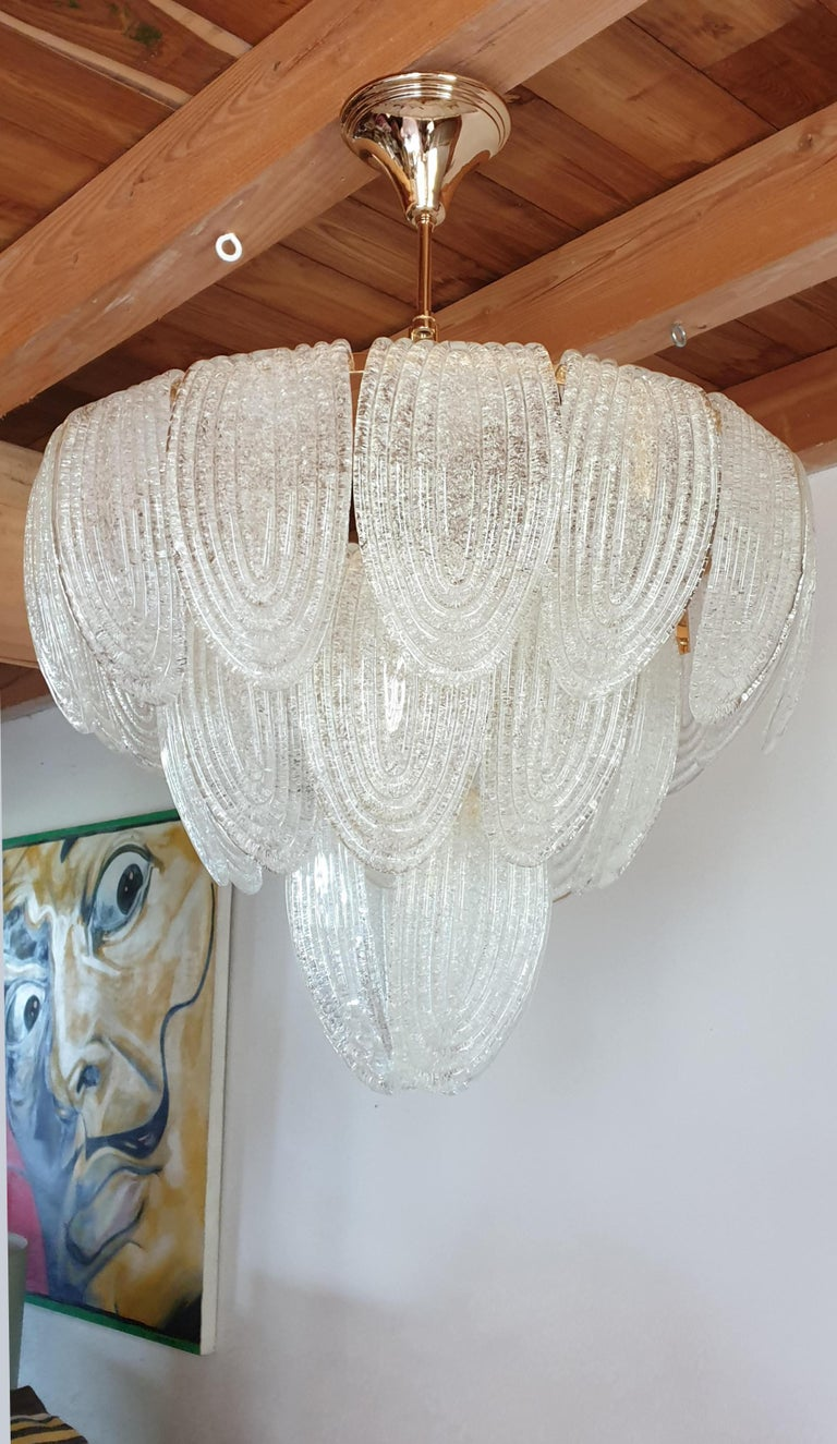 Late 20th Century Mid-Century Modern Murano Glass and Plated Gold Chandelier Mazzega Style, a pair For Sale