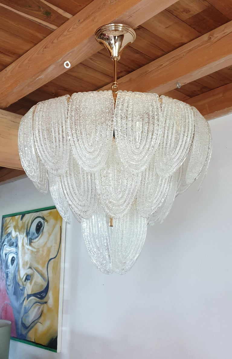 Mid-Century Modern Murano Glass and Plated Gold Chandelier Mazzega Style, a pair For Sale 1