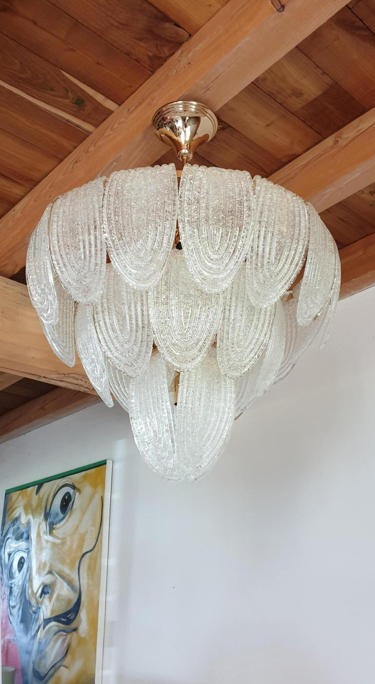 Mid-Century Modern Murano Glass and Plated Gold Chandelier Mazzega Style, a pair For Sale 2