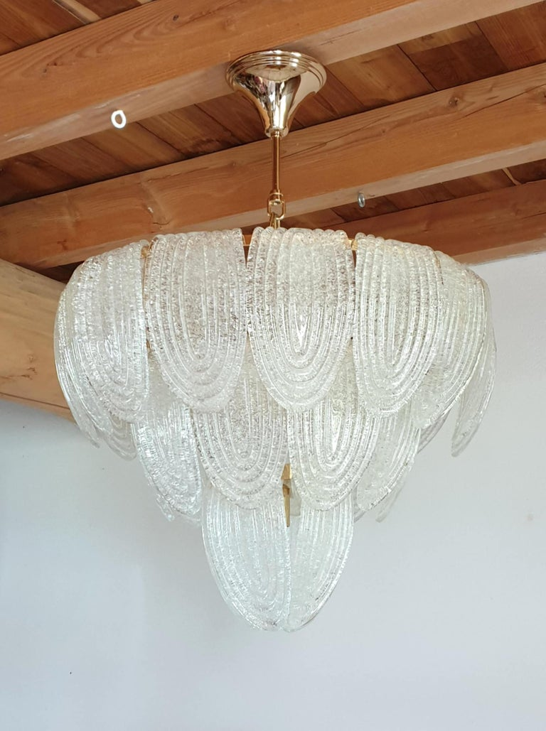 Mid-Century Modern Murano Glass and Plated Gold Chandelier Mazzega Style, a pair For Sale 3