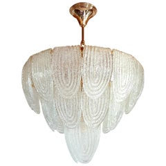 Mid-Century Modern Murano Glass and Plated Gold Chandelier Mazzega Style, 1970s
