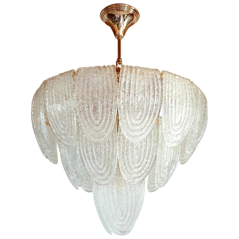 Mid-Century Modern Murano Glass and Plated Gold Chandelier Mazzega Style, a pair For Sale