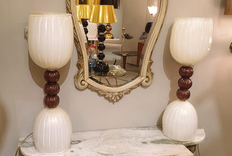 Hand-Crafted Mid-Century Modern Murano Glass Purple & Ivory Table Lamps, Barovier Style, 1960 For Sale
