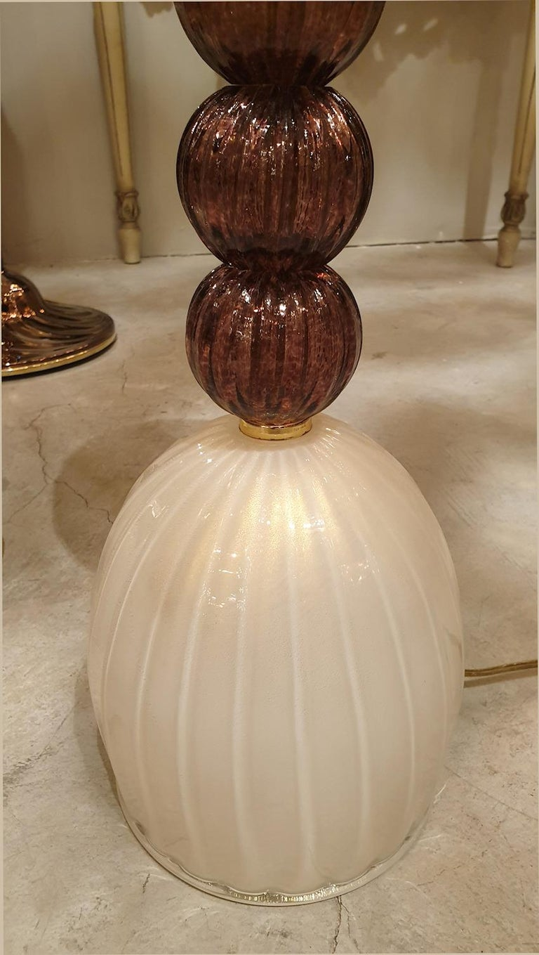 Mid-Century Modern Murano Glass Purple & Ivory Table Lamps, Barovier Style, 1960 For Sale 3