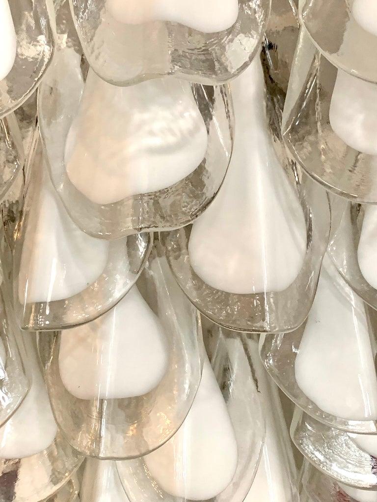 Chrome Mid-Century Modern Murano Glass Round Waterfall Chandelier For Sale