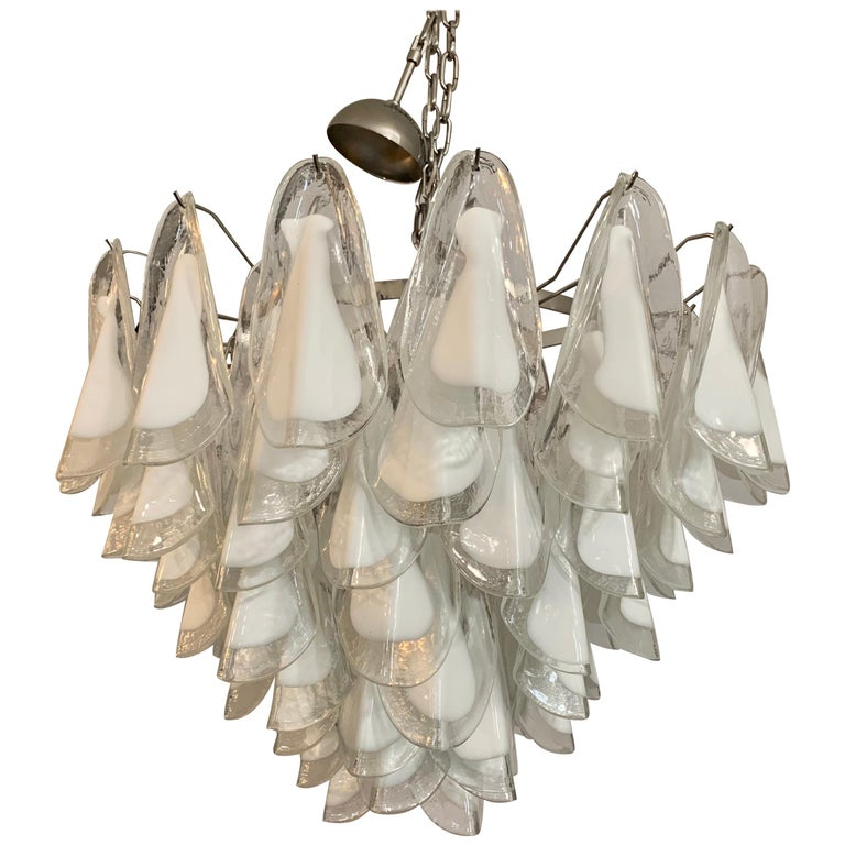 Mid-Century Modern Murano Glass Round Waterfall Chandelier For Sale