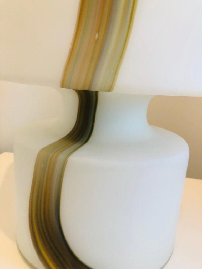 Italian Missoni Style White, Brown, Orange and Blue Murano Art Glass Table Lamp For Sale 4