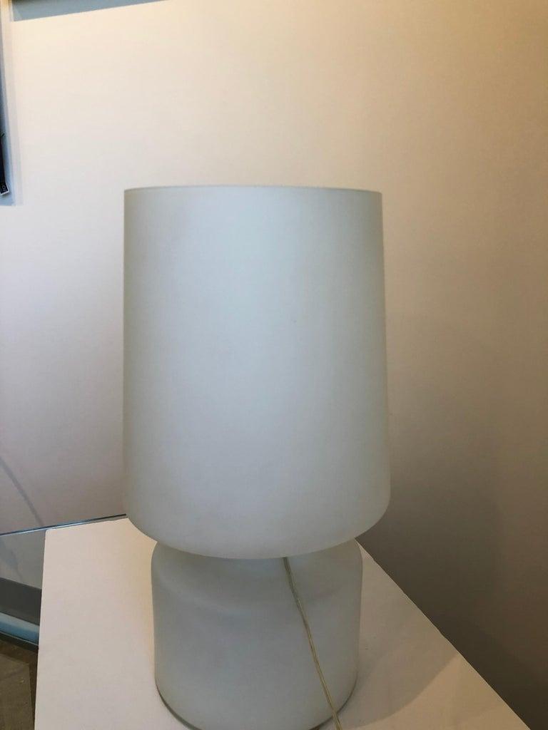 Italian Missoni Style White, Brown, Orange and Blue Murano Art Glass Table Lamp For Sale 8