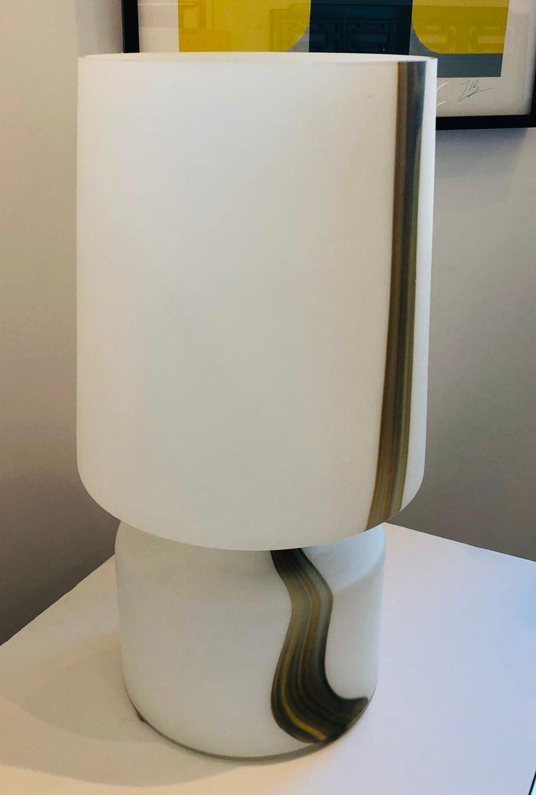 Mid-Century Modern Italian Missoni Style White, Brown, Orange and Blue Murano Art Glass Table Lamp For Sale