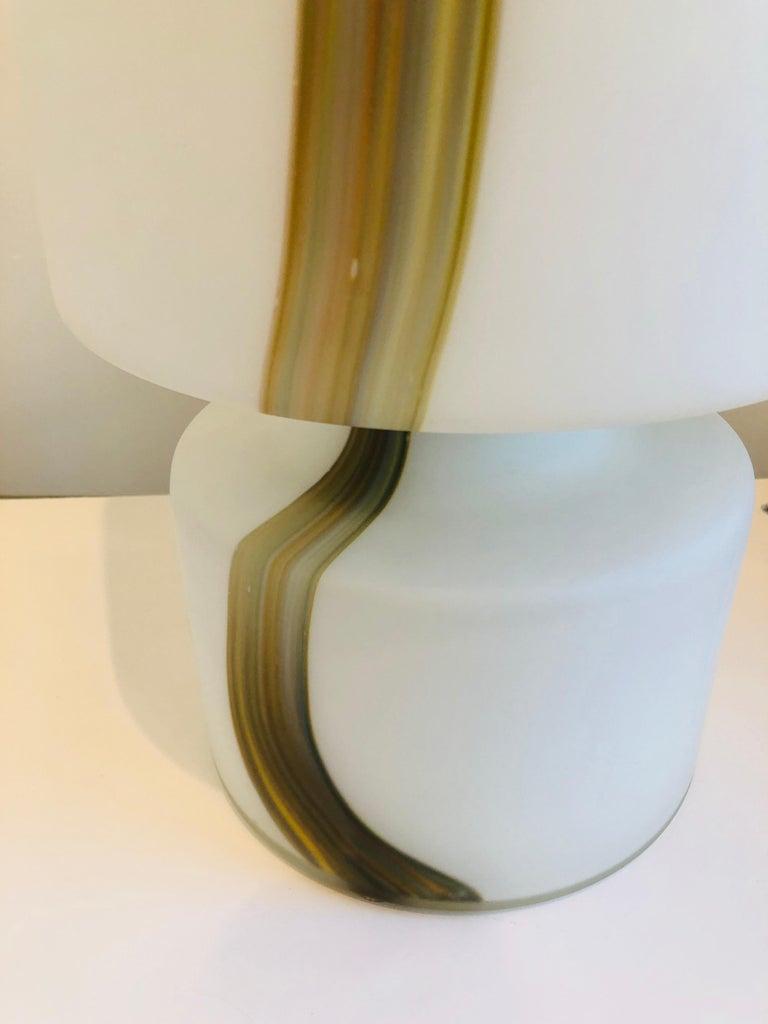 20th Century Italian Missoni Style White, Brown, Orange and Blue Murano Art Glass Table Lamp For Sale