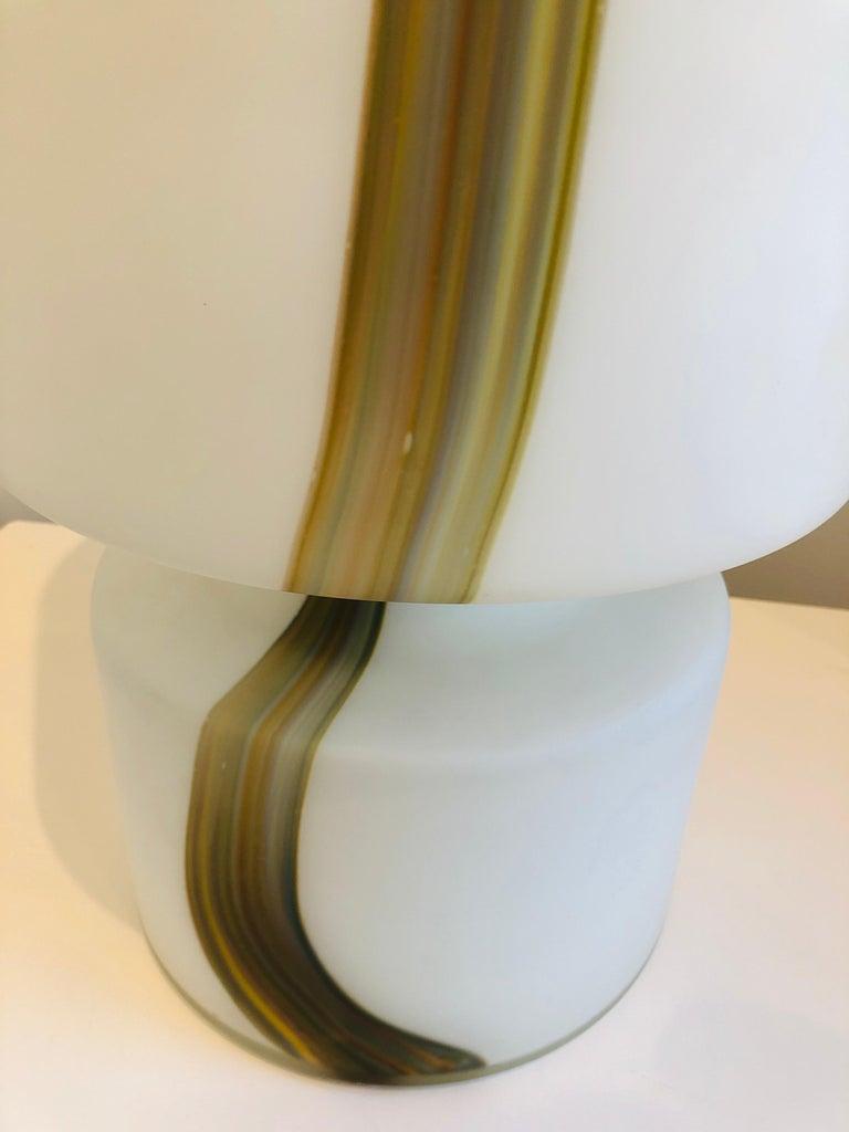 Blown Glass Italian Missoni Style White, Brown, Orange and Blue Murano Art Glass Table Lamp For Sale