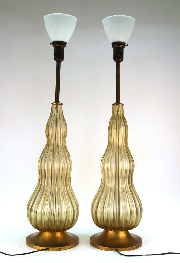 Mid-Century Modern Murano Glass Table Lamps in Champagne ...