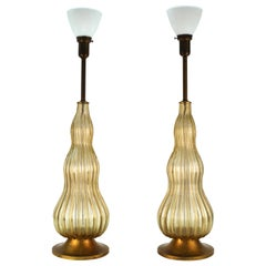 Mid-Century Modern Murano Glass Table Lamps in Champagne Color