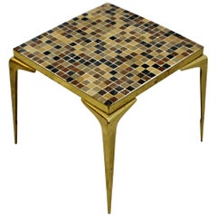 Mid-Century Modern Murano Glass Tile Top Brass Side End Table 1960 Italian Style