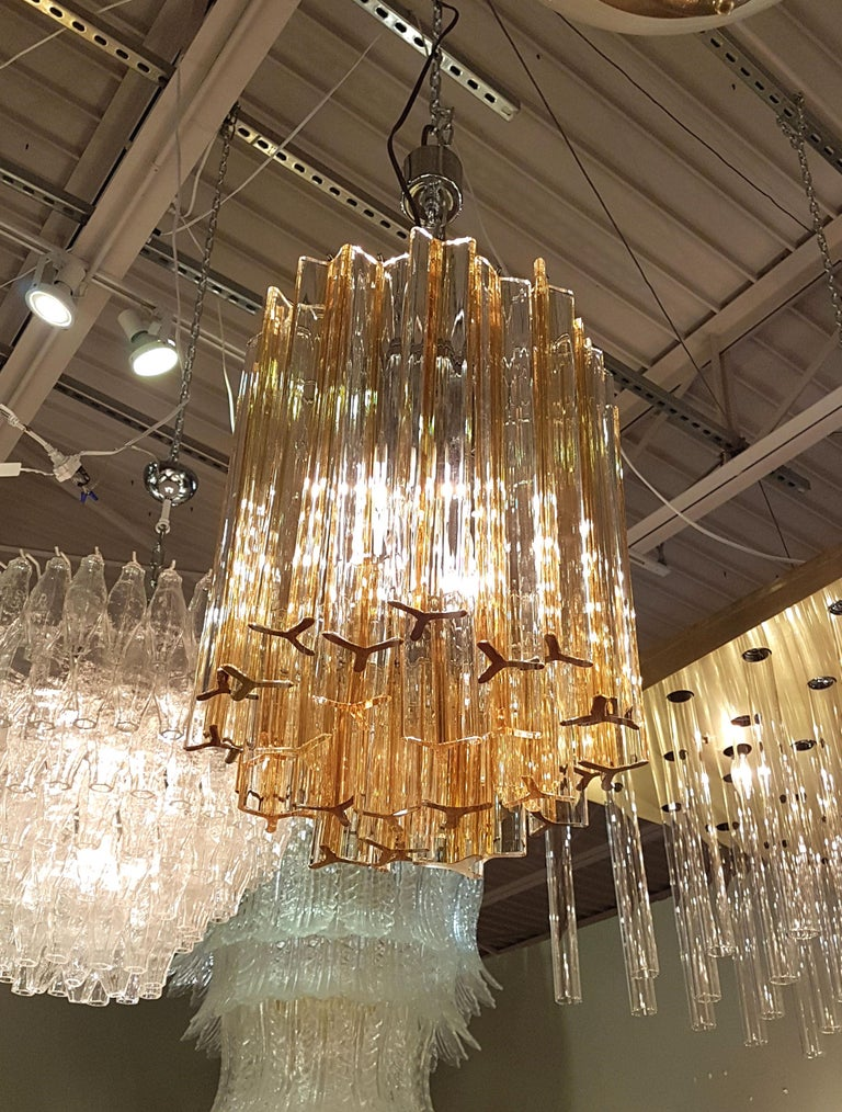 Mid-Century Modern Triedri glass chandelier, by Venini, Italy, circa 1970s.