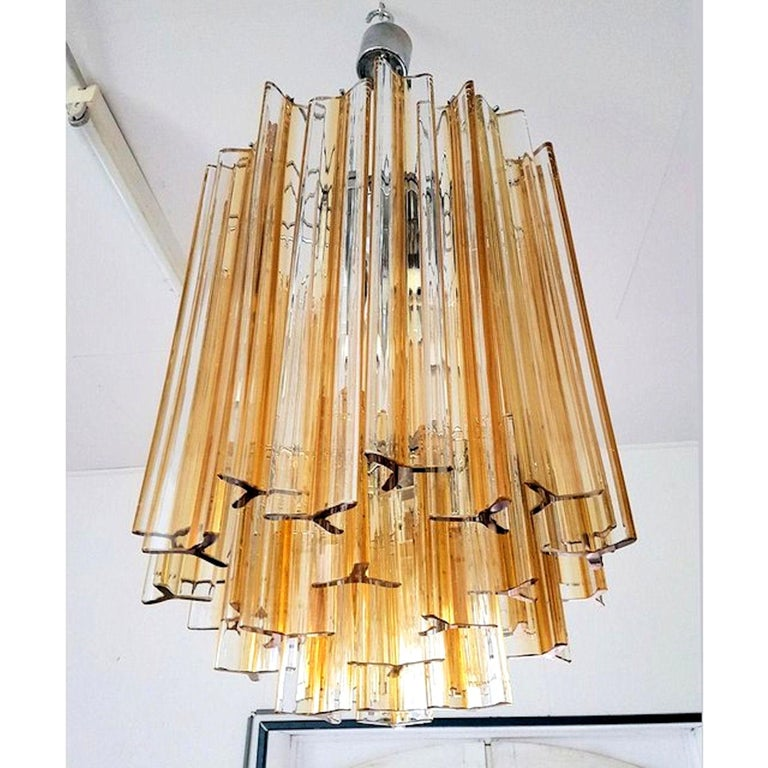 Italian Mid-Century Modern Murano Glass Triedri Chandelier by Venini, Clear and Amber For Sale
