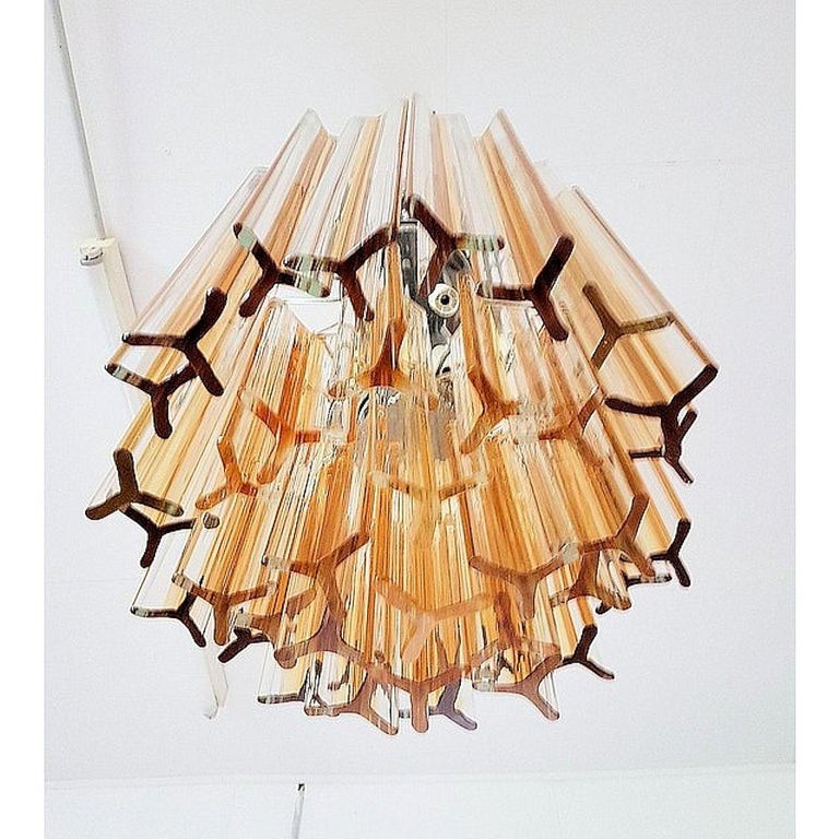 Mid-Century Modern Murano Glass Triedri Chandelier by Venini, Clear and Amber In Excellent Condition For Sale In Dallas, TX