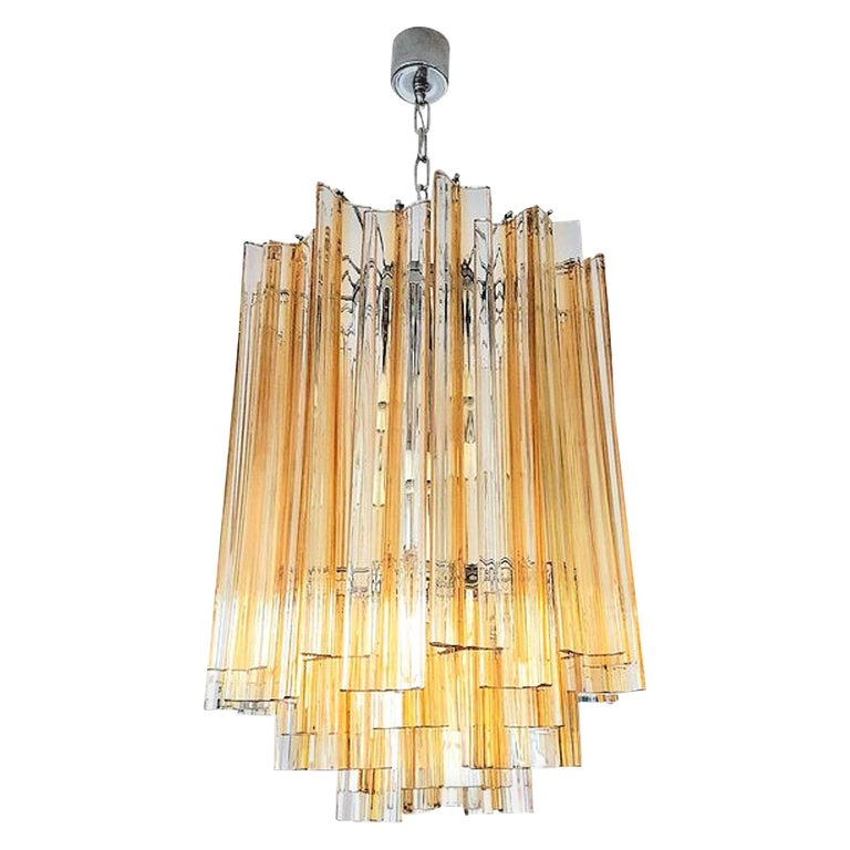 Mid-Century Modern Murano Glass Triedri Chandelier by Venini, Clear and Amber For Sale