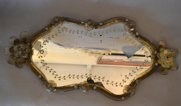 Bohemian Mid-Century Modern Murano Gold Glass Ornate & Etched Venetian Wall Mirror, Italy For Sale