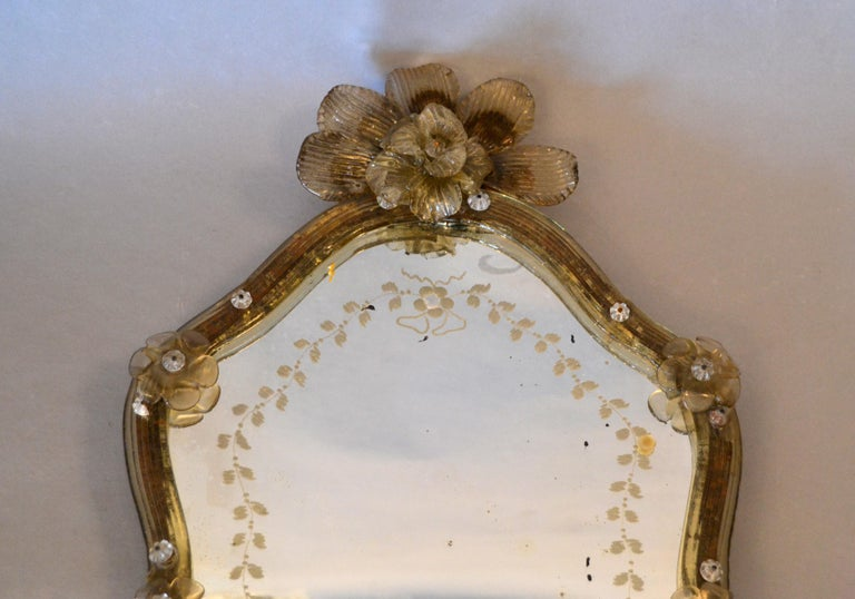 Italian Mid-Century Modern Murano Gold Glass Ornate & Etched Venetian Wall Mirror, Italy For Sale