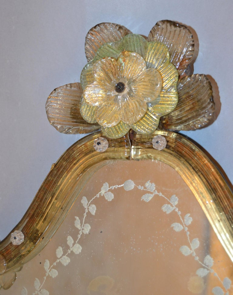 Hand-Crafted Mid-Century Modern Murano Gold Glass Ornate & Etched Venetian Wall Mirror, Italy For Sale