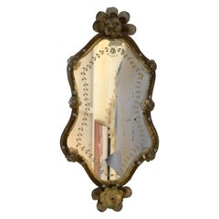 Mid-Century Modern Murano Gold Glass Ornate & Etched Venetian Wall Mirror, Italy