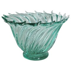 Mid-Century Modern Murano Green Art Glass Swirled Bowl Barovier Attributed