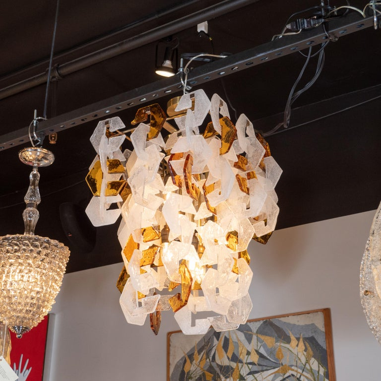 Late 20th Century Mid-Century Modern Murano Interlocking Amber and White Glass Chandelier, Mazzega For Sale