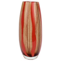 Mid-Century Modern Murano Italian Glass Red & Purple Striped Vase