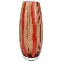 Mid-Century Modern Murano Italian Glass Red & Purple Striped Vase
